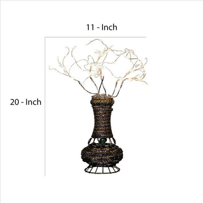Tree Table Lamp with Aluminum Wire and Multiple LED White By Casagear Home BM240931