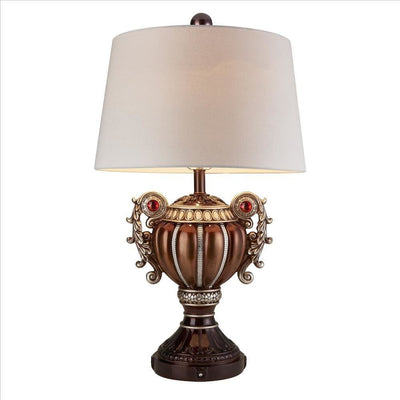 Trophy Shaped Polyresin Table Lamp with Scroll Handles, Bronze By Casagear Home