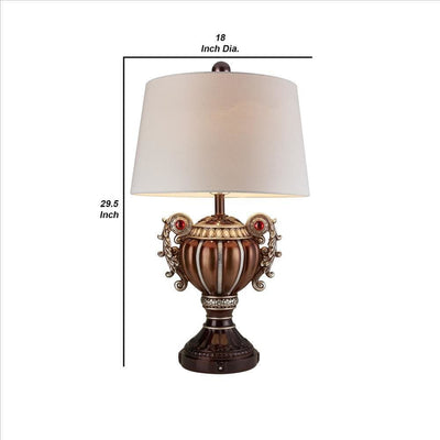 Trophy Shaped Polyresin Table Lamp with Scroll Handles Bronze By Casagear Home BM240932
