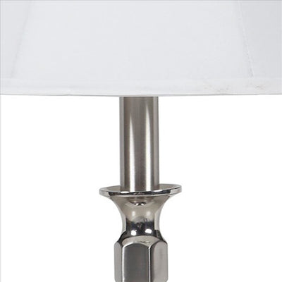 Turned Tubular Metal Body Table Lamp with Empire Shade Silver By Casagear Home BM240936