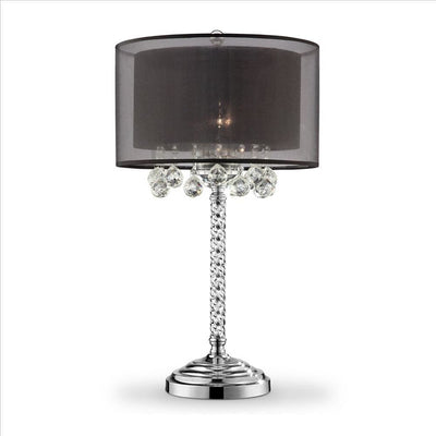Twisted Crystal Body Table Lamp with Dual Fabric Shade, Clear and Black By Casagear Home
