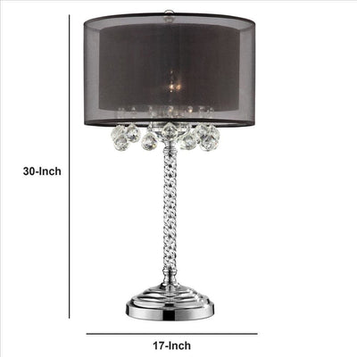Twisted Crystal Body Table Lamp with Dual Fabric Shade Clear and Black By Casagear Home BM240940