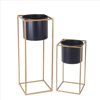 Metal Round Planter with Square Base, Set of 2, Gold and Gray By Casagear Home