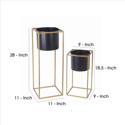 Metal Round Planter with Square Base Set of 2 Gold and Gray By Casagear Home BM240982