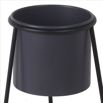 Metal Round Planter with Triangle Base Set of 2 Black and Gray By Casagear Home BM240983