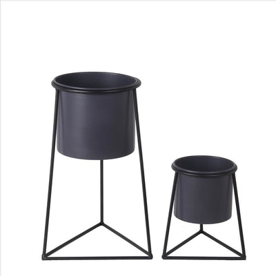 Metal Round Planter with Triangle Base, Set of 2, Black and Gray By Casagear Home