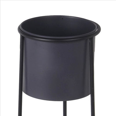 Metal Round Planter with Y Shape Base Set of 2 Black and Gray By Casagear Home BM240985