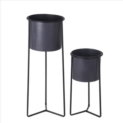 Metal Round Planter with Y Shape Base, Set of 2, Black and Gray By Casagear Home