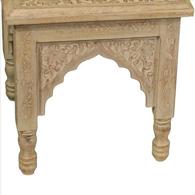 Floral Carved Traditional Accent Table Set of 2 Natural By Casagear Home BM240993