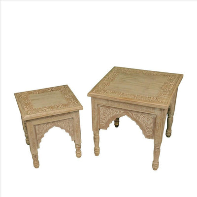 Floral Carved Traditional Accent Table, Set of 2, Natural By Casagear Home