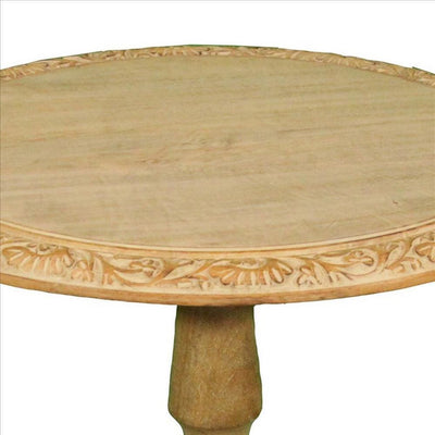 Carved Edge Round Top Traditional Accent Table Set of 2,Natural By Casagear Home BM240998