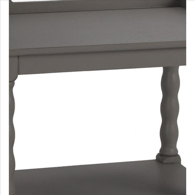 Wooden Accent Stand with Two Tiered Open Shelve Gray By Casagear Home BM241037