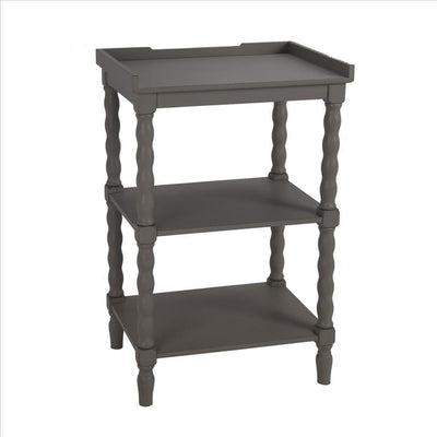 Wooden Accent Stand with Two Tiered Open Shelve, Gray By Casagear Home