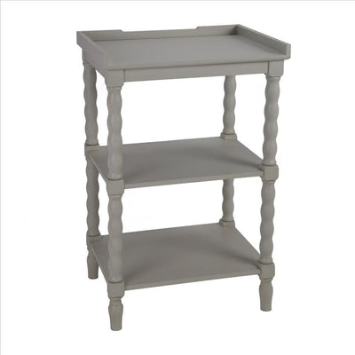 Wooden Accent Stand with Two Tiered Open Shelve, Light Gray By Casagear Home
