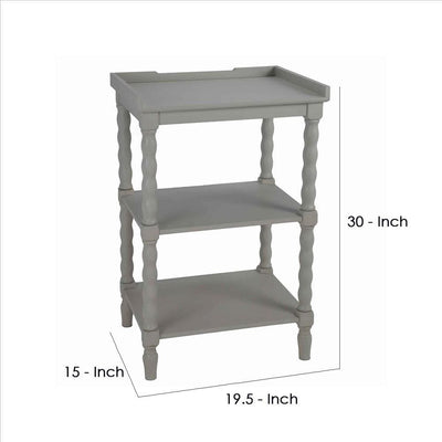 Wooden Accent Stand with Two Tiered Open Shelve Light Gray By Casagear Home BM241038