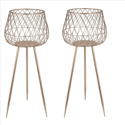 Dome Shaped Lattice Metal Planter with Tripod Peg Legs, Set of 2, Gold By Casagear Home