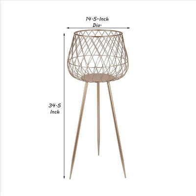 Dome Shaped Lattice Metal Planter with Tripod Peg Legs Set of 2 Gold By Casagear Home BM241059