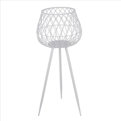 29.5'' Dome Lattice Metal Planter with Tripod Peg Legs, Set of 2, White By Casagear Home