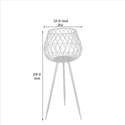 29.5'' Dome Lattice Metal Planter with Tripod Peg Legs Set of 2 White By Casagear Home BM241061