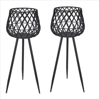 34.5'' Dome Lattice Metal Planter with Tripod Peg Legs, Set of 2, Black By Casagear Home