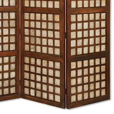 Wooden Foldable Square Screen with Grid Pattern Brown - BM26449 By Casagear Home BM26449