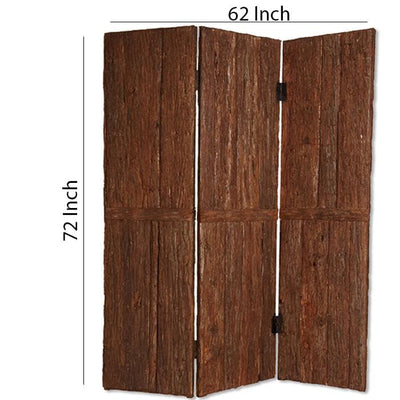 Wooden Foldable 3 Panel Room Divider with Plank Style Small Brown - BM26473 By Casagear Home BM26473