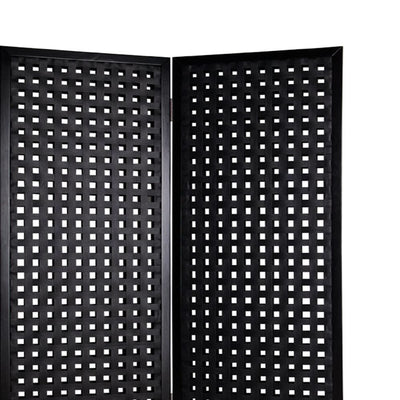 2 Panel Room Divider with Leatherette Interwoven Square Cut Outs Black - BM26479 By Casagear Home BM26479