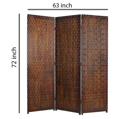 3 Panel Foldable Room Divider with Patterned Wood Panelling Brown - BM26485 By Casagear Home BM26485