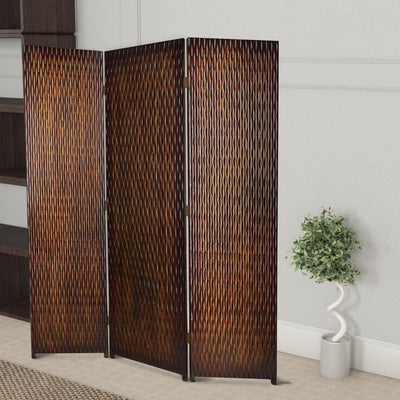 3 Panel Foldable Room Divider with Patterned Wood Panelling, Brown - BM26485 By Casagear Home