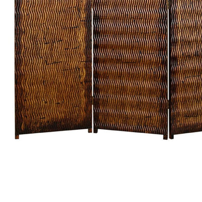Dual Tone 3 Panel Wooden Foldable Room Divider with Wavy Design Brown - BM26486 By Casagear Home BM26486