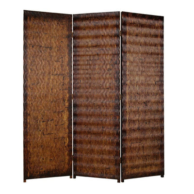 Dual Tone 3 Panel Wooden Foldable Room Divider with Wavy Design, Brown - BM26486 By Casagear Home