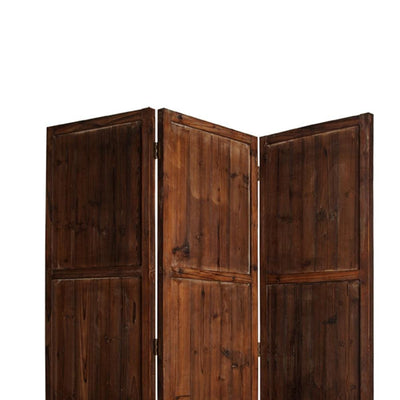 Wooden 3 Panel Room Divider with Plank Pattern Brown - BM26488 By Casagear Home BM26488