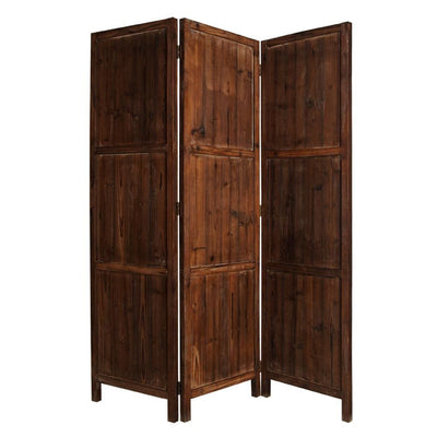 Wooden 3 Panel Room Divider with Plank Pattern, Brown - BM26488 By Casagear Home