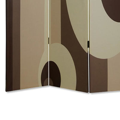 Canvas Print 3 Panel Room Divider with Circle Design Beige and Brown - BM26490 By Casagear Home BM26490