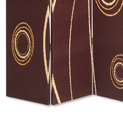 3 Panel Foldable Canvas Room Divider with Circle Design Brown and Yellow - BM26491 By Casagear Home BM26491
