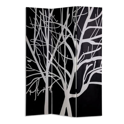 3 Panel Canvas Room Divider with Branch Pattern Black and White - BM26497 By Casagear Home BM26497