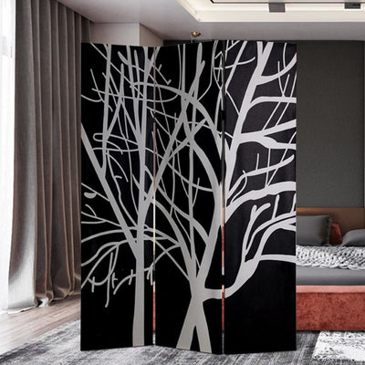 3 Panel Canvas Room Divider with Branch Pattern, Black and White - BM26497 By Casagear Home