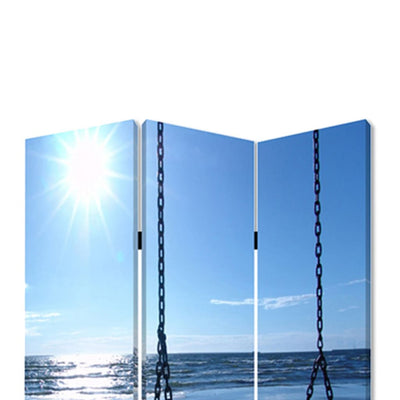 Wooden 3 Panel Room Divider with Seaside Screen Pattern Blue and Gray - BM26498 By Casagear Home BM26498