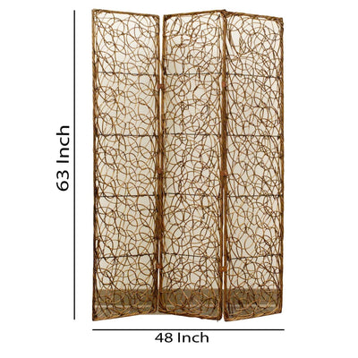 3 Panel Foldable Wooden Screen with Lattice Design Brown - BM26504 By Casagear Home BM26504
