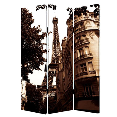 3 Panel Foldable Canvas Screen with Eiffel Tower Print Brown - BM26510 By Casagear Home BM26510