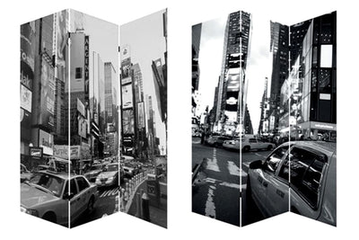3 Panel Foldable Canvas Screen with NYC Print, Black and White - BM26513 By Casagear Home