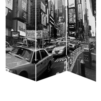 3 Panel Foldable Canvas Screen with NYC Print Black and White - BM26513 By Casagear Home BM26513