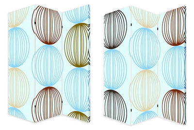 3 Panel Canvas Made Foldable Screen with Sphere Print, Multicolor - BM26518 By Casagear Home