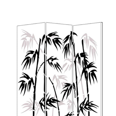 3 Panel Foldable Canvas Bamboo Leaf Print Screen Black and White - BM26524 By Casagear Home BM26524