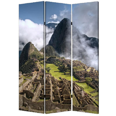 3 Panel Foldable Canvas Screen with Machu Picchu Print Multicolor - BM26527 By Casagear Home BM26527
