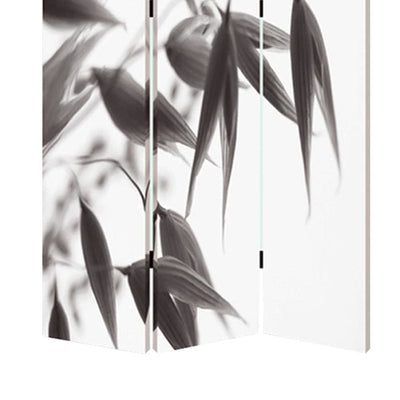 3 Panel Foldable Canvas Screen with Lily Print Black and White - BM26531 By Casagear Home BM26531
