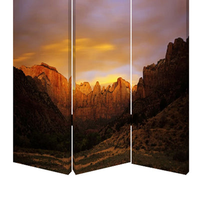 Sunset Plateau Print Foldable Canvas Screen with 3 Panels Multicolor - BM26534 By Casagear Home BM26534