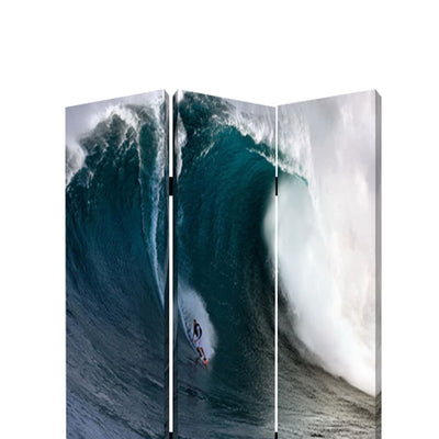 Surfing High Wave Print Foldable Canvas Screen with 3 Panels Blue - BM26535 By Casagear Home BM26535