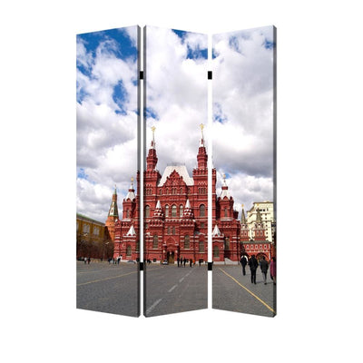 Russian Tower Print Foldable Canvas Screen with 3 Panels, Multicolor - BM26544 By Casagear Home