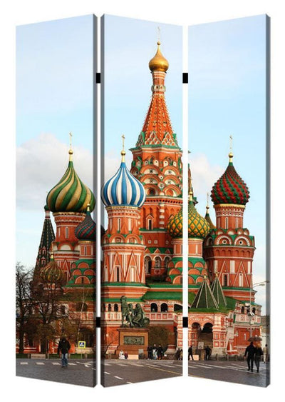 Russian Tower Print Foldable Canvas Screen with 3 Panels Multicolor - BM26544 By Casagear Home BM26544